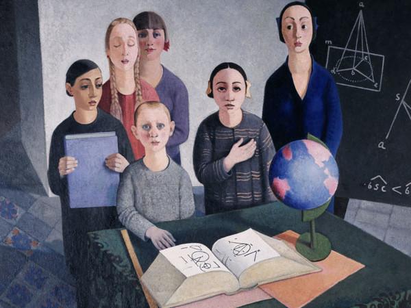 """Felice Casorati, Gli scolari (dettaglio), 1927-1928. Galleria d'Arte Moderna """"Empedocle Restivo"""", Palermo"""