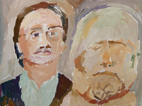 Renato Barilli, Giacinto Di Pietrantonio, 2018, tempera su carta
