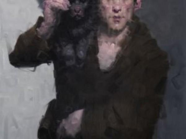 Wainer Vaccari, Viandante in città, 2016, olio su tela