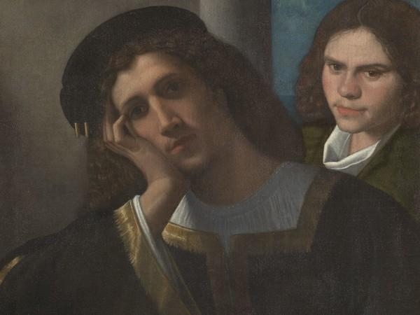 """<div class=""""page"""" title=""""Page 1""""> <div class=""""layoutArea""""> <div class=""""column""""><span>Giorgio da Castelfranco detto Giorgione,</span><span><em>Due amici</em>,</span><span>1502 c.Olio su tela, 66.5 x 77 cm, Roma, Museo di Palazzo Venezia</span></div> </div> </div> <br />"""