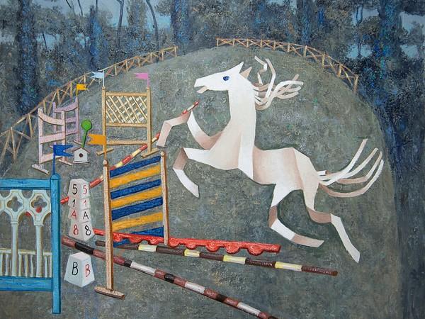 Enrico Benaglia, Concorso ippico, 2006, olio su tela