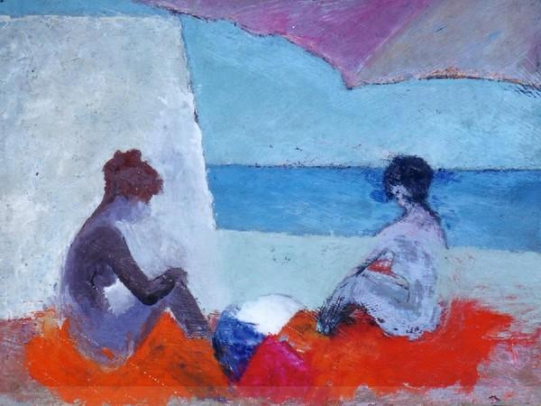 Paolo Salvati, Donne al Mare sotto l'ombrellone, 1973. Olio su tela, cm 30 x 40
