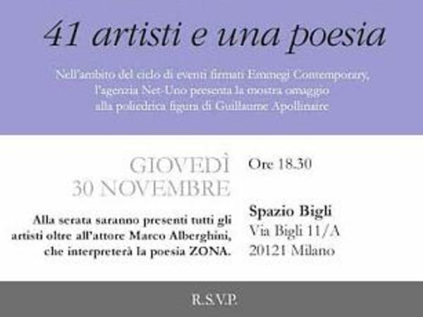 Zona. 41 artisti e una poesia, Spazio Bigli, Milano