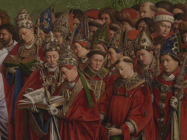 Jan e Hubert van Eyck, L'Adorazione dell'Agnello Mistico, 1432, Dettaglio del pannello centrale della Pala d'altare di Gand aperta con i Religiosi in preghiera, Dopo il restauro, Olio su tavola, Gand, Cattedrale di San Bavone   Courtesy of Saint-Bavo's Cathedral Ghent © Lukasweb.be-Art in Flanders vzw   Photo: KIK-IRPA
