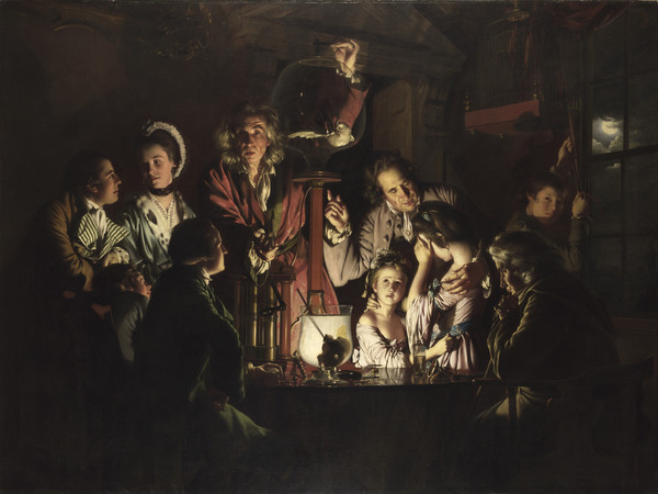 Joseph Wright of Derby, Esperimento su un uccello in una pompa pneumatica, 1768, olio su tela. The National Gallery, Londra