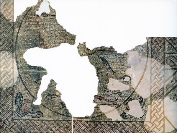 Mosaico con scena di pesca