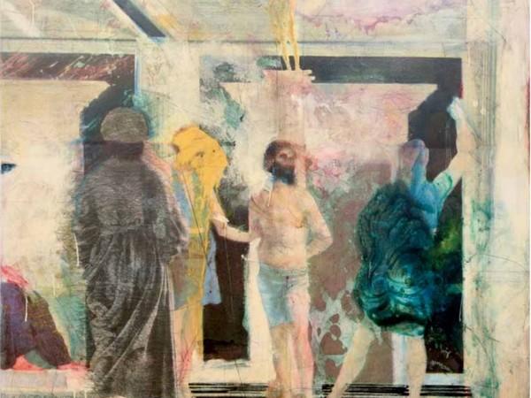 Franco Sarnari, Flagellazione I (da Piero dalla Francesca), 1992, tecnica mista su tela, 135 x 130 cm.