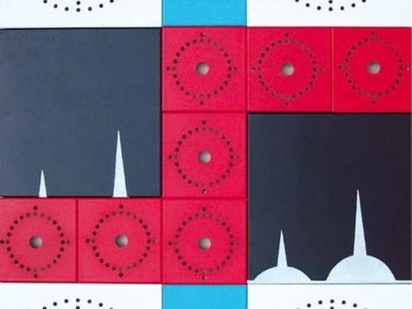 Antonio Saporito, Forma geometrica, 2006, acrilico e alluminio su legno, cm. 70x50