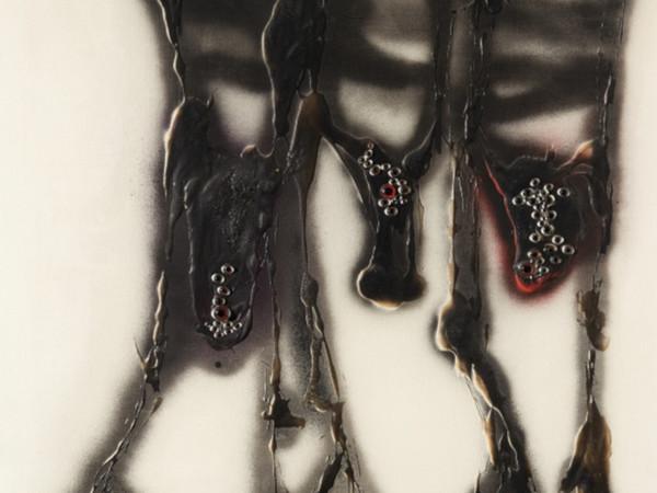 Carol Rama, Perdonami le congiunzioni, 1969, tecnica mista su tela,100x100 cm.