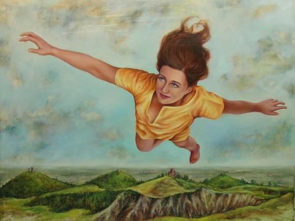 Alessandra Binini, A un passo da terra. Quattro Castella, 2010, olio su tavola, cm. 100x130