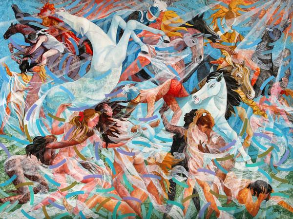 Milo Lombardo, La battaglia di Anghiari, 150x200 cm., acrilico su tela