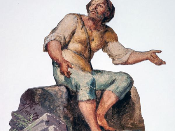 Francesco Londonio, Presepe, Contadino seduto, cm. 34,5 x 3