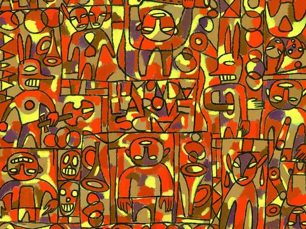 Pablo Echaurren,<em> Il mondo alla rovescia</em>, 1991, Acrilico su carta, 100 x 100 cm, Collezione privata