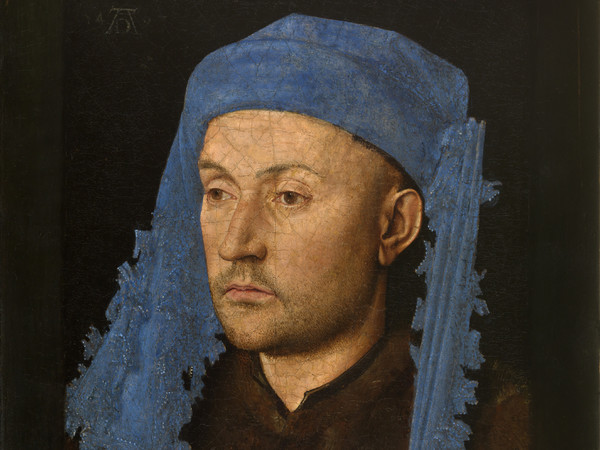 Jan van Eyck (Maaseik?, 1390 circa - Bruges, 1441), Ritratto d'uomo con un turbante blu, 1428-1414 circa, Olio su pannello, 22 x 17 cm, Muzeul National Brukenthal, Sibiu (Romania)