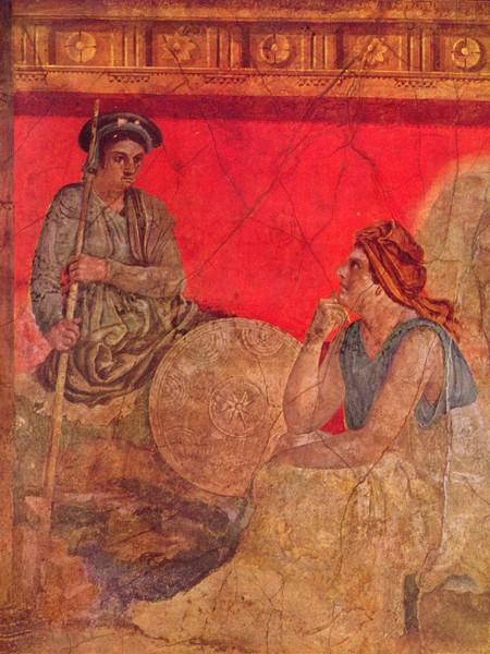 Affresco raffigurante un principe macedone con un filosofo