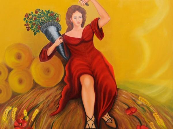 Alessandra Casciotti, Le stagioni - L'estate, olio su tela, cm. 90x90