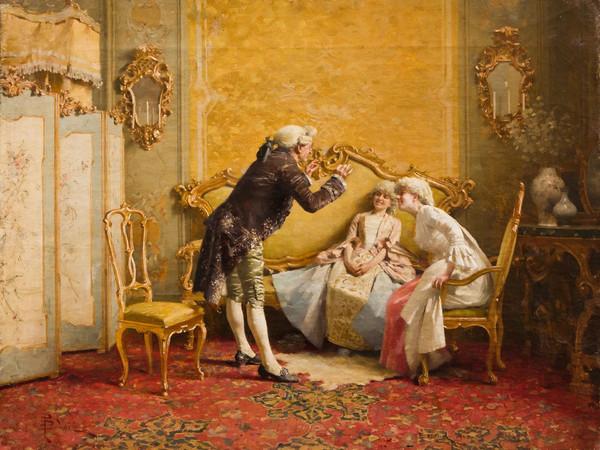 Giovanni Paolo Bedini, Colloquio galante, olio su tela, 35,5x45,5 cm. Collezione privata