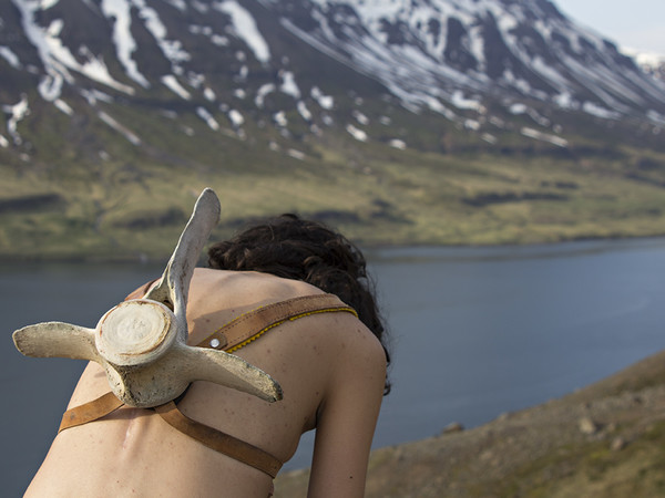 Elena Mazzi, Self Portrait with a whale backpack, 2018, fotografia montata su disband, cm. 66x100