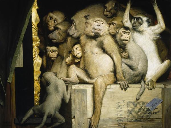 Gabriel von Max, Scimmie come critici d'arte, olio su tavola, Neue Pinakothek, Monaco