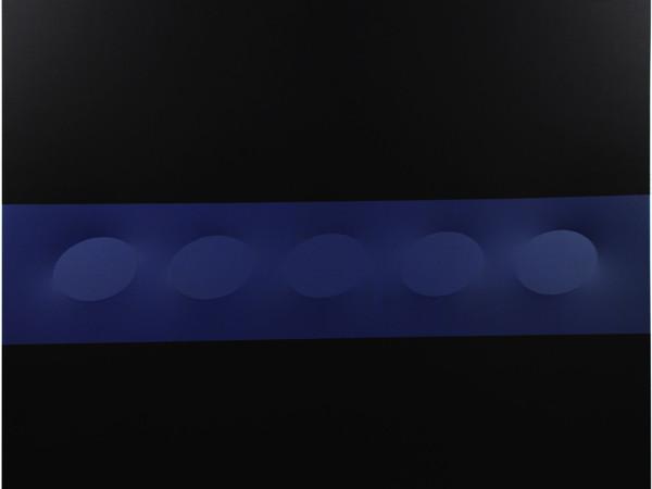 Turi Simeti, 5 ovali blu e nera 120x150 cm, 2016
