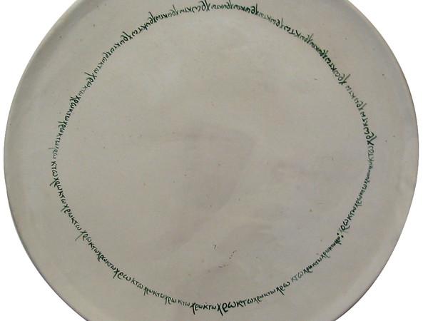 Edoardo Sanguineti, Senza titolo, 1973, piatto, terracotta smaltata e dipinta
