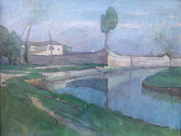 Umberto Moggioli, San Francesco del Deserto, 1913, olio su tela, cm. 70x90