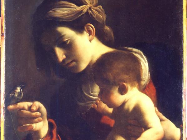 Guercino, La Madonna col Bambino (La Madonna del passero). Bologna, Pinacoteca Nazionale (lascito Denis Mahon) cm 78,5 x 58. Olio su tela.