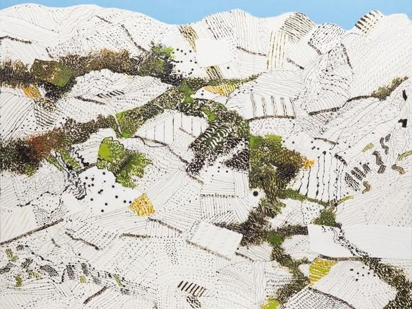 Tullio Pericoli, 2016, olio, inchiostro e collage su tela, cm  84,5x100