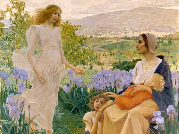 Alfredo Savini (Bologna, 1868 - Verona, 1924), Auxilium ex alto, 1896, Olio su tela, 245 x 276 cm