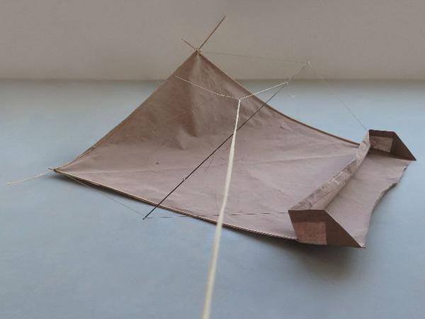 Milena Rossignoli, Resistenza I lattex su tela, nylon catarifrangente, corda, legno, carbonio, cera | 100x93x14 cm. | 2019