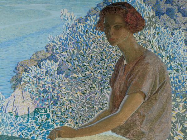 Domenico Guerello, Calma argentea. Ritratto di Alma Fidora, 1922, Olio su tela, Inv. GAM 374, Musei di Nervi - Galleria d'Arte Moderna