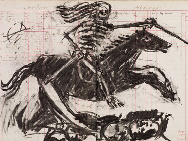 William Kentridge, Drawing for Triumphs & Laments (#1), 2014, Charcoal on Ledger pages, 63x83x4 cm (framed)| © William Kentridge, Photocredit Thys Dullaart, Courtesy Lia Rumma Gallery, Milan/Naples
