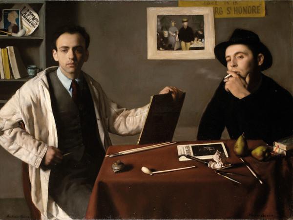 Antonio e Xavier Bueno, Doppio autoritratto, 1944, olio su tela, cm 74×100. Ivrea, Museo Civico Pier Alessandro Garda