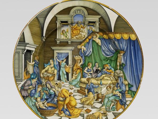 Piatto, La Nascita di san Giovanni Battista, Urbino o Casteldurante, 1530-1545. Collezione privata