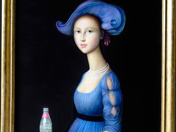 Alfonso Rocchi, Nobildonna in blu con coca cola, olio su tavola, cm. 49,3x55,7