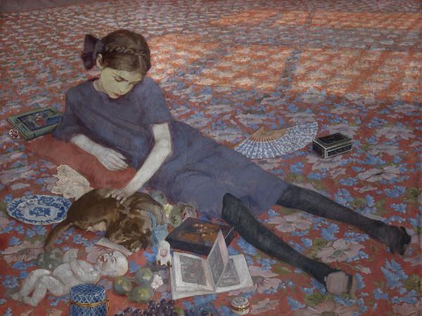 Felice Casorati, Bambina che gioca su tappeto rosso, 1912, Olio su tela, Gand, Museum voor Schone Kunsten | Courtesy of Studio Esseci 2016
