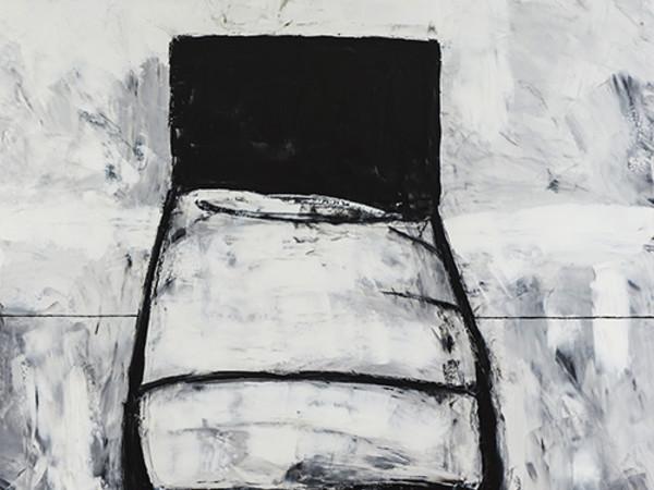 Pietro Lista, Il letto, alkidico su tela, 150x130 cm, 2017