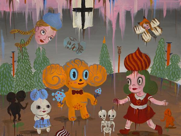 Gary Baseman, <em>The Dacha Trip</em>, Particolare, Acrilico su tela, 61 x 46 cm | Courtesy of Dorothy Circus Gallery<br />