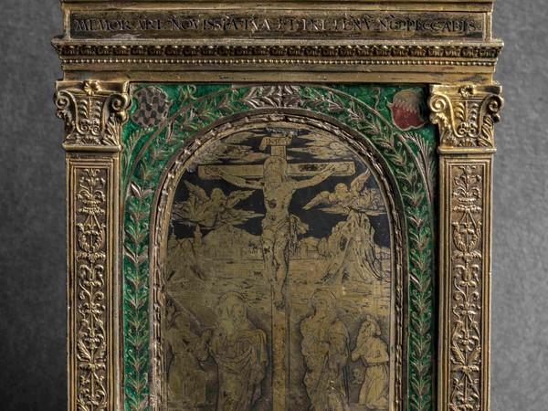 """<div class=""""page"""" title=""""Page 3""""> <div class=""""layoutArea""""> <div class=""""column""""><span>Francesco Francia, </span><span>Pace, La crocifissione</span><span>, argento, bronzo dorato, smalti e niello, Bologna, Pinacoteca Nazionale (Polo Museale ER, archivio fotografico, foto Marco Baldassari)</span></div> </div> </div>"""