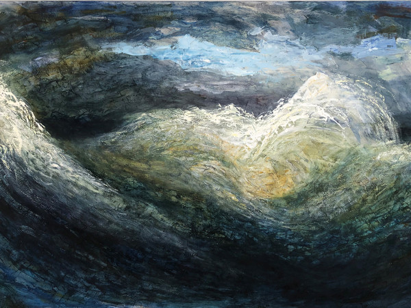 Michael Franke, Polyphloisboio Thalasses, 2016. Olio su tela, 145x235 cm.