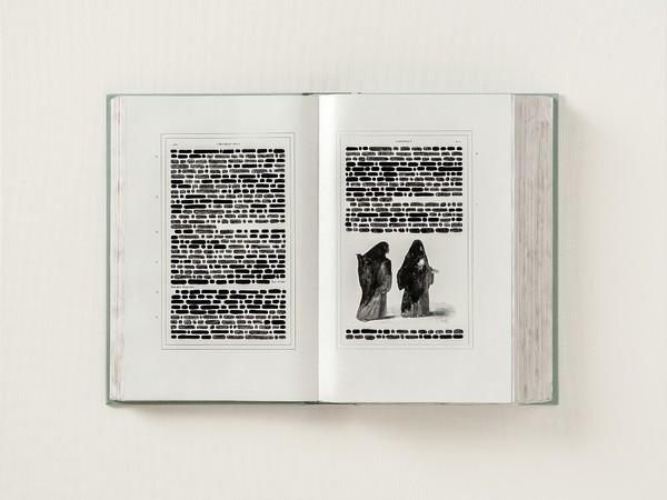 Emilio Isgrò, La sventurata rispose, 50x36cm., tecnica mista su libro in box di legno, tela e plexiglass