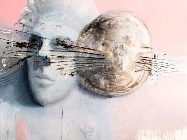Guido Pecci, Requiem (Ramaglie), 2017. Olio, tempera, bitume, argilla, grafite su tela  listello ligneo, terracotta, 180x180x3 cm.