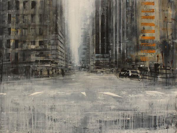 Daniele Cestari, Diario americano, Di mattina presso la città silenziosa, 2018, olio e acrilico su tela, 100x120 cm.