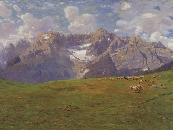 <span>Guglielmo Ciardi,&nbsp;</span><em>Mattino alpestre [Sorapis]</em><span>, 1894 circa. Olio su tela, 150x300 cm. Venezia, Istituto di SS.LL.AA. &ndash; V.I.C.</span>
