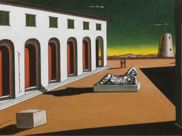 Giorgio De Chirico, Piazza d'Italia. Malinconia, 1969, olio su tela, cm 42x60