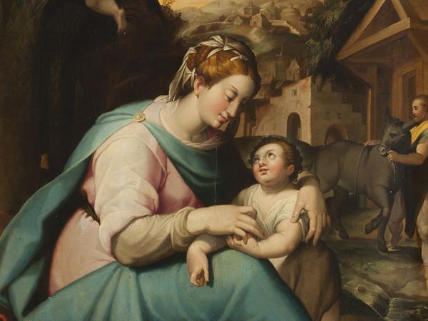 Cantore Galleria Antiquaria - Orazio Samacchini, Riposo durante la fuga in Egitto, olio su tavola, cm 81x62