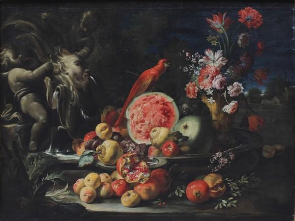 Abraham Brueghel,Natura morta di fiori, frutta e pappagallo.Olio su tela, cm. 127x176; con cornice cm. 153x202<br /> <br />