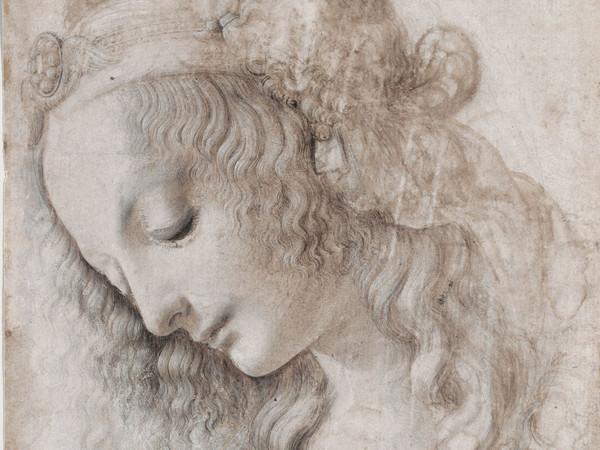 Leonardo da Vinci, Studio di volto femminile, 1468-1475 circa. Pietra nera (o punta di piombo), penna, pennello inchiostri marrone e grigio, biacca (parzialmente ossidata), su carta preparata avorio, 281 ✕ 199 mm. Firenze, Gabinetto Disegni e Stampe degli Uffizi