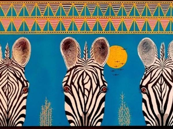 Schili, Zebre Masai, 2019, acrilico su tavola, cm. 150x50