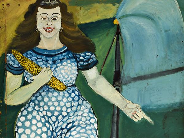 Antonio Ligabue, Figura di donna, s.d. (1953), olio su tavola di faesite, cm. 200x100